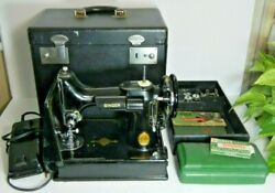 Vintage 1949 Singer 221 Featherweight Sewing Machine And Case Sn No.aj117349
