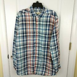 The Territory Ahead Mens Blue Red Plaid 100 Linen Button Front Shirt Size L