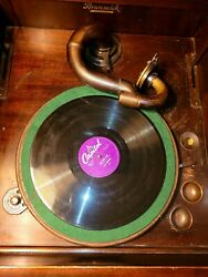 Antique Vintage Victrola Brunswick With Brass Arm Phonograph Tlc Plays Read