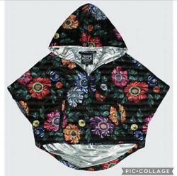 Think Royln Heroine Floral Hooded 100 Down Poncho Xs/s Cozy Athleisure Cropped