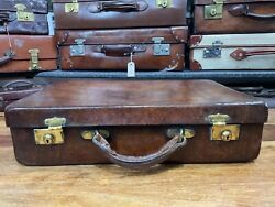 Beautifully Patinated Large Antique Leather Norfolk Hide Briefcase Suitcase