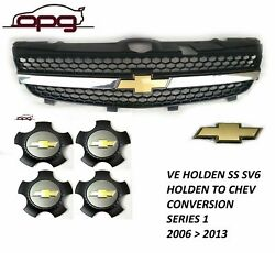 Genuine Holden Grille / Boot Badge / Caps Combo For Ve Ss Ssv Chev Series 1 Only