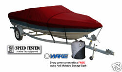 Wake Monsoon Premium Boat Cover Fits V Hull Runabouts 14-16 Ft Red