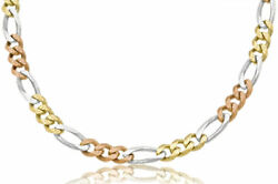 14k Solid Tri-color Mens Figaro Link Chain Necklace 8mm