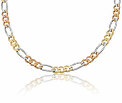 14k Solid Tri-color Mens Figaro Link Chain Necklace 7mm