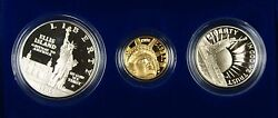 1986 Liberty 3 Coin Proof Commemorative Set Gold 5 Silver 1 And 50c Us Mint