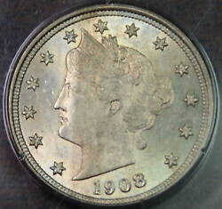 1908 Liberty V Nickel Pcgs Ms-64 Ogh Rattler Coin Fully Struck