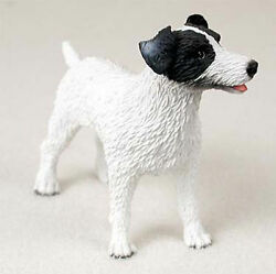Jack Russell Hand Painted Dog Figurine Statue BlackWhite Rough
