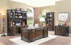 Double Pedestal Executive Office Desk Two Tone Wood NEW