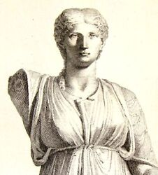 By Zanetti Greek Statues Agrippina Germanicus Rare Antique Engraving 1743