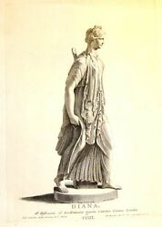 By Zanetti Greek Statues Diana Goddess Of Hunt Antique Copper Engraving 1743
