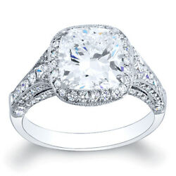4.52 Ct Cushion Cut Halo Pave Diamond Engagement Ring Made n USA 18k White gold