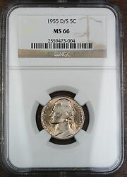 1955-d/s Jefferson Nickel Coin Ngc Ms-66 Scarce Omm Variety