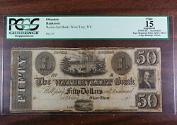 18__ Remainder 50.00, Watervliet Bank, West Troy Ny, Pcgs F-15, Obsolete Note