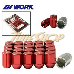 Work Racing Rs Type Forged Aluminum Lock Lug Nuts 12x1.5 M12 1.5 Red 20 Pcs L