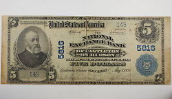 Series 1902 5 National Currency Note Castleton On Hudson Ny
