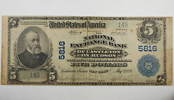 Series 1902 5 National Currency Note, Castleton On Hudson Ny
