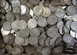 Lot Of 100 1958-1967 Italy 500 Lira Silver Coins
