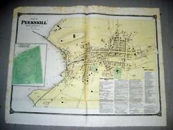 Westchester Ny Map, Antique Peekskill Wall Map, Real Estate, 19th Century