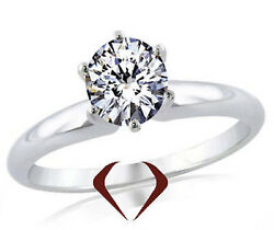 0.54ct Round Ideal Cut Diamond Solitaire Ring D Si2 14k