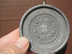 Antique Chinese Tin Plaque With 4 Signs Of Zodiac And Seal On The Back