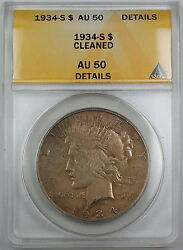 1934-s Silver Peace Dollar, Anacs Au-50 Details, Cleaned Coin
