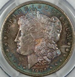 1904-o Morgan Silver Dollar Pcgs Ms-65 Spectacularly Toned Dgh