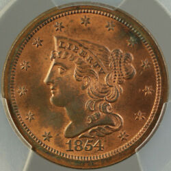 1854 Braided Hair Half 1/2 Cent Pcgs Ms-64 Rb Mostly Red Better Coin Dgh