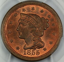 1855 Braided Hair Large Cent 1c Pcgs Ms-64 Rb Upright 55 Mostly Red
