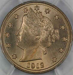 1912 Liberty Nickel Coin, Pcgs Ms-64 A