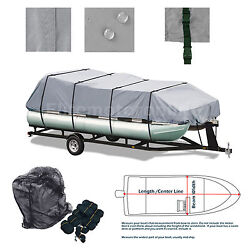 Trailerable Pontoon Boat Storage Cover Weatherproof Fits 21and039 22and039 23and039 24and039 L
