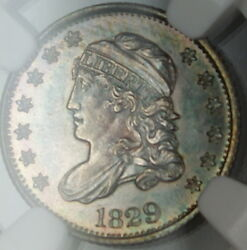 1829 Capped Bust Silver Half Dime, Ngc Unc Details, Toned Very Choice Bu Gf