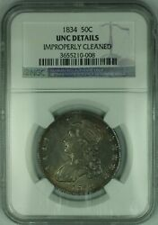 1834 Capped Bust Silver Half Dollar Ngc Unc Details Choice Bu Toned Coin 2/ah
