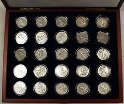 Collection Of 25 Silver Walking Liberty Half-dollars, In Presentation Case W Coa