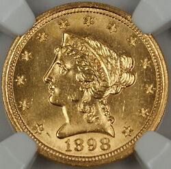 1898 Liberty 2.50 Quarter Eagle Gold Coin, Ngc Unc Details Improperly Cleaned