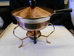 Vintage Copperclad Aluminum Chafing Pan Food Warmer Usa Wooden Handle Nice