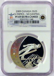 2009 Canada Proof 69 Uc Silver 25 Olympics-ski Jumping Free Shipping