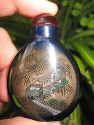 Chinese Antique Snuff Blue Glass Bottle Great Wall Of China