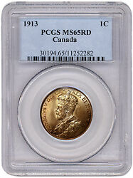 1913 Canadian Coins 1-cent Penny - Graded Ms65 Rd By Pcgs