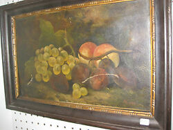 Continental Antique Oil Painting -still Life With Grapes, Plums And Peaches,1872