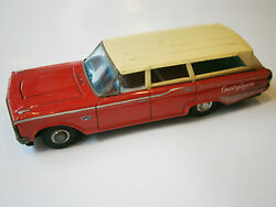 Vintage Old Japan Red Tin Toy Car Ford Japanese Country Squire 1960and039s