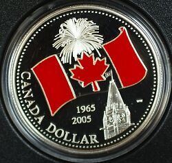 2005 Canada 1 Limited Edition Proof Enamel-40th Ann National Flag-w/case And Coa