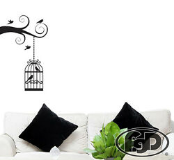 Wall Decal Sticker Removable Tree branch and birdcage 23quot;x 37quot; In black or white