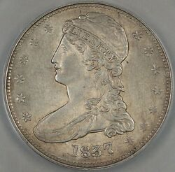 1837 Capped Bust Silver Half Dollar Reeded Edge Anacs Au-58 Details Scratched