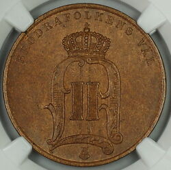 1889 Sweden 5 Ore Large Letters Ngc Ms-64 Bn Swedish Coin