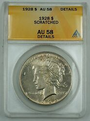 1928 Silver Peace Dollar Coin Anacs Au-58 Details Scratched