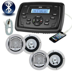 Marine Stereo Boat Mp3/am/fm/usb/ipod Bluetooth Player + 4 X Speakers Complete