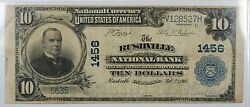 1902 10 National Currency Bank Note- 1456- Rushville, Indiana