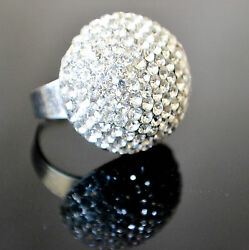 FASHIONABLE DOME CLEAR WHITE BLING RHINESTONES (OPEN BACKADJUSTABLE) RING