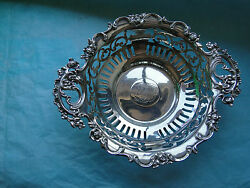 American Sweet Dish Pierced Roses Pattern Sterling Silver 1880 Marked Antique